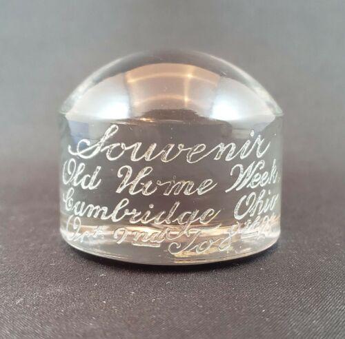 Cambridge Glass Old Home Week October 1921 Souvenir Paperweight RARE