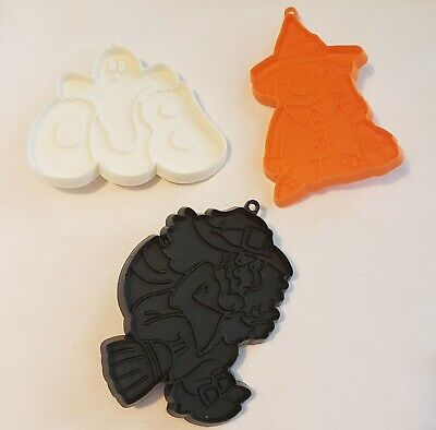 3 Pc Hallmark Halloween Happy Witch, Boo Ghost, Black Broom Witch Cookie Cutters