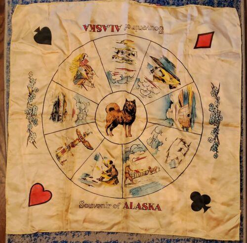 "Vintage 1940s or 50s  ALASKA Souvenir CARD TABLE COVER 29"" x 29"" dog fish igloo"