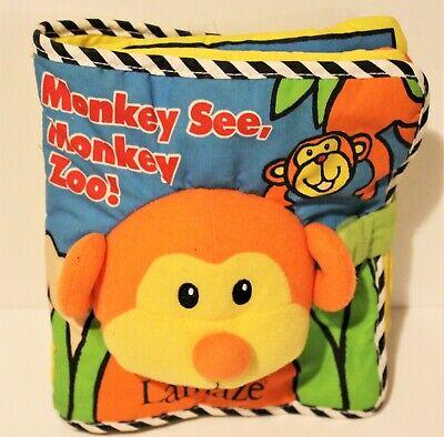 Lamaze Monkey See Monkey Zoo! Soft Cloth Book Bright Colors 8 Animals Cute