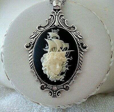 MERMAID LADY w/ LOST PIRATE SHIP CAMEO Silver PENDANT NECKLACE - Quality (Lady Cameo Pendant Necklace)
