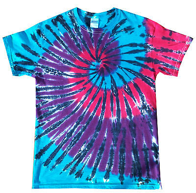 Blue Tie-dye-t-shirt (Tie dye T Shirt blue Pink and purple spiral , all sizes, Hand dyed in the UK )