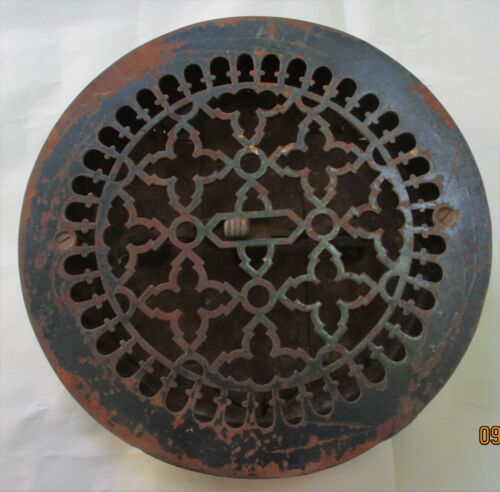 "large ANTIQUE CAST IRON  REGISTER HEAT GRATE ADJUSTABLE DAMPER 11 3/4"" diameter"
