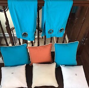 Two Curtain Panels & Cushions