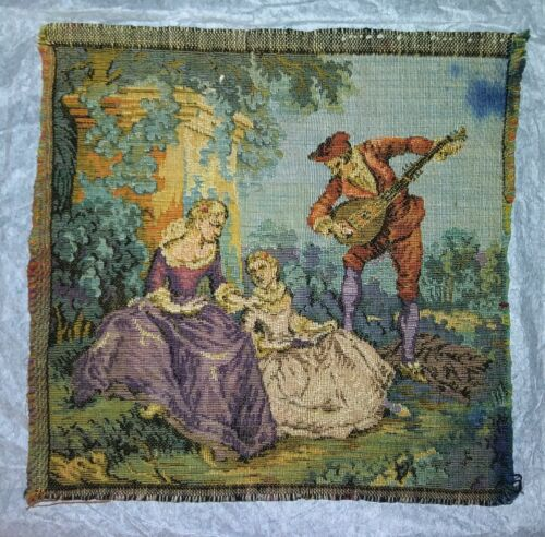 Antique 19th Century French Tapestry - Romantic Pastoral Scene - Wall Decor