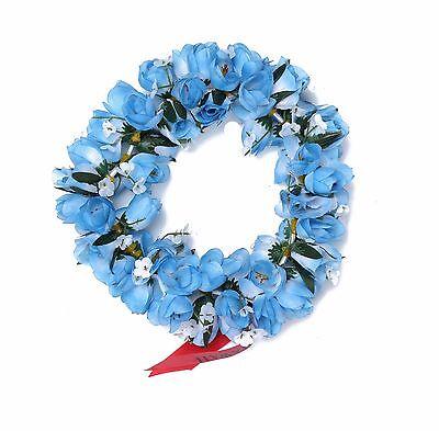 Hawaiian Lei Party Luau Headband Haku Elastic Flower Tuberose Blue