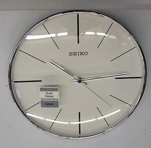 seiko silver tone 11 5 round wall clock with quiet sweep
