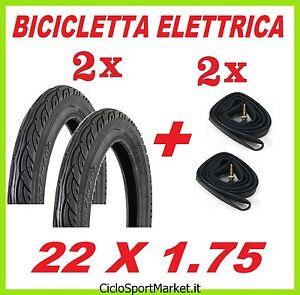 2-Neumaticos-2-Camaras-de-aire-22-x-1-75-NERO-ideal-bicicleta-electrica