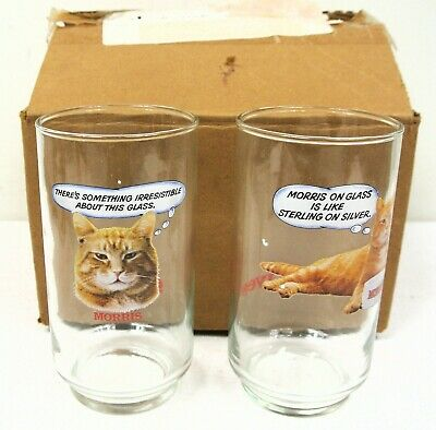 9-Lives Food Morris the Cat Promo Drinking Glass Pair - New in Box 1982