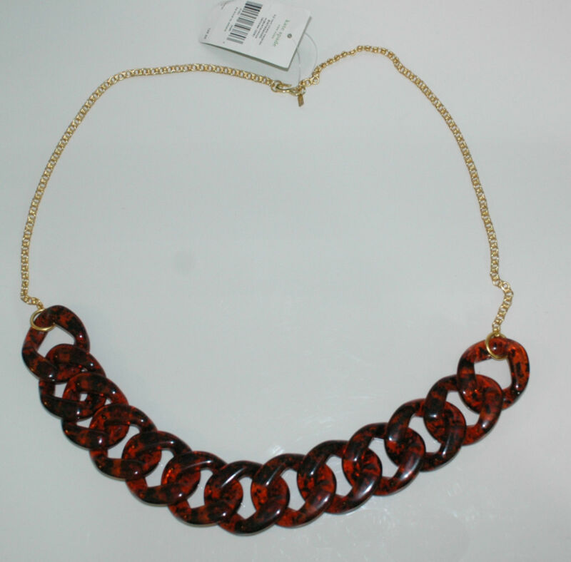 Kenneth Jay Lane KJL for Kate Spade Large Tortoise Resin and Gold Link Necklace