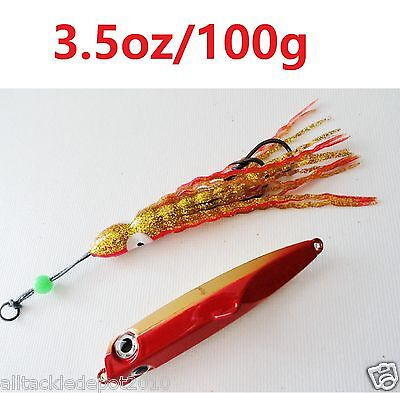 Inchiku Pirate Bottom Ship Jigs 100g FLUORESCENT RED Snapper Fishing Lures