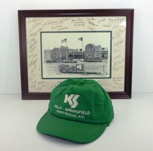 The Kelly Springfield Tire Company Autographed Framed Lithograph Picture & Cap
