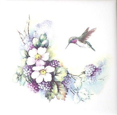 "Hummingbird Bird  w Black Berry Ceramic Tile 4.25"" x 4.25"" Kiln Fired Accent"