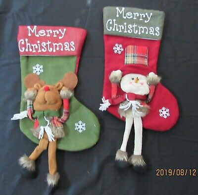 lot of two new Christmas stockings santa reindeer plaid rustic New Traditions  ()