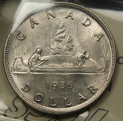 1936 CANADA SILVER DOLLAR ICCS MS 64 NEAR GEM. ONE YEAR TYPE COIN. BV $225