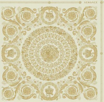 Versace Heritage Cream Gold Wallpaper Baroque Ornament Metallic Paste Wall