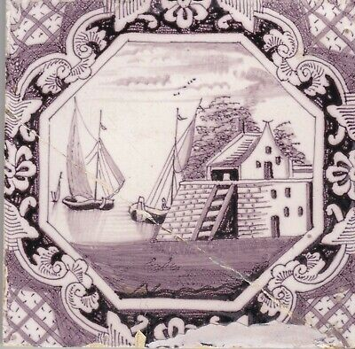 Delft Tile 18th - 19th century   (T 4)      Boats