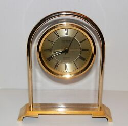 Desk/Shelf Clock, Danbury Brand, Round Brushed Gold Face. Brass Base & Trim