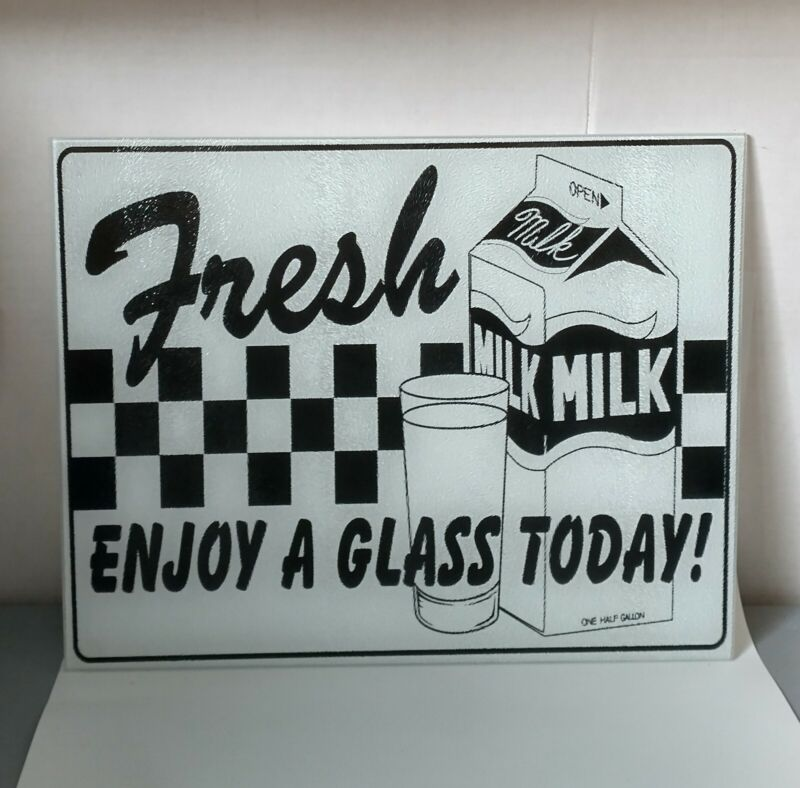 "Vintage Fresh Milk Enjoy A Glass Today 15""x12"" Glass Sign Dairy Farm Country"