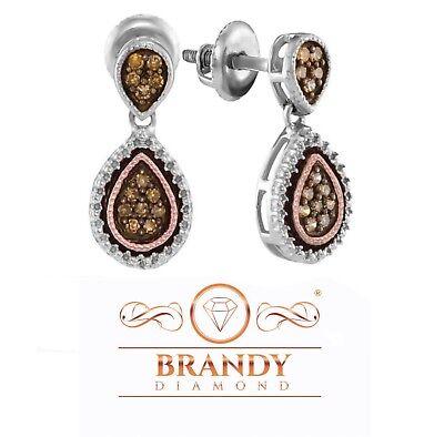 Brandy Diamond® Chocolate Brown 14K Gold Silver Double Teardrop Fancy Earrings Double Teardrop Diamond Earrings
