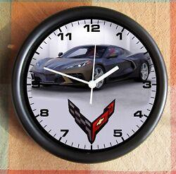 Corvette Zeus Bronze Metallic C8 2020 LOGO Big 10 inch black wall clock