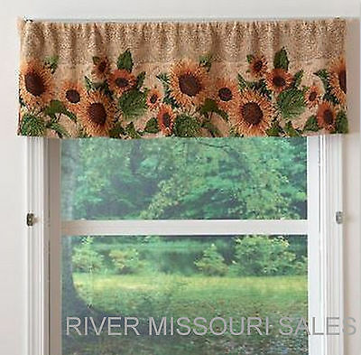 Valance Tapestry - Sunflower Blooms Field Tapestry Window Valance, Neutral Background 54