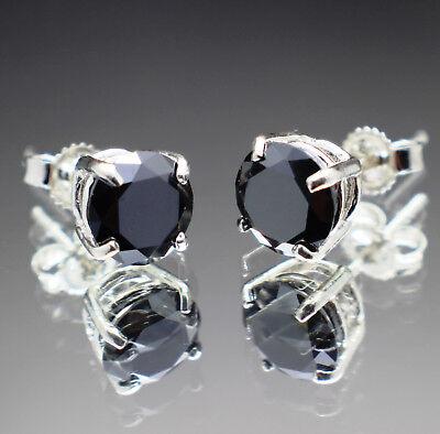 3.14tcw REAL Natural Black Diamond Stud Earrings AAA Grade & $1770 Value.......