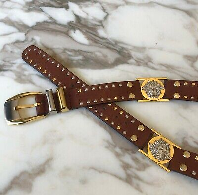 GIANNI VERSACE dual tone brown leather studded Medusa head belt size 90/36