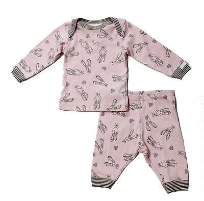 NWT Coccoli Baby Girl Ballerina Slipper Print Knit Cotton Set, Pink ~ 3 -