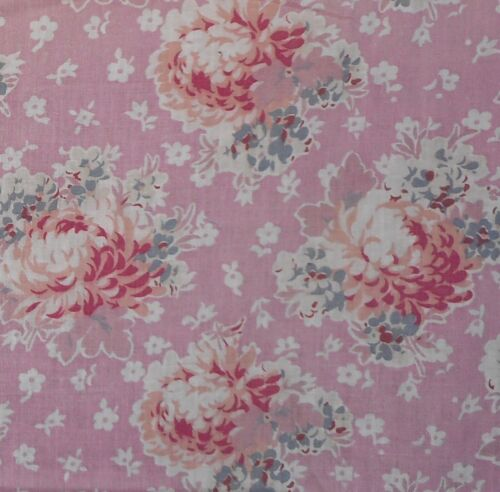 Antique Cottage Floral Mum Cotton Fabric ~ Rose Pink Peach Gray Blue