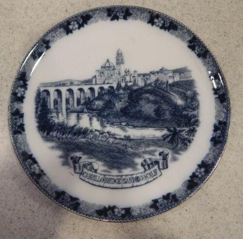 Cabrillo Bridge San Diego, CALIF  CA Historical Souvenir China Plate circa 1915