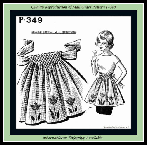 APRON Smocked EMBROIDERED Flower TULIP Vintage MAIL ORDER #P-349 Sewing Pattern