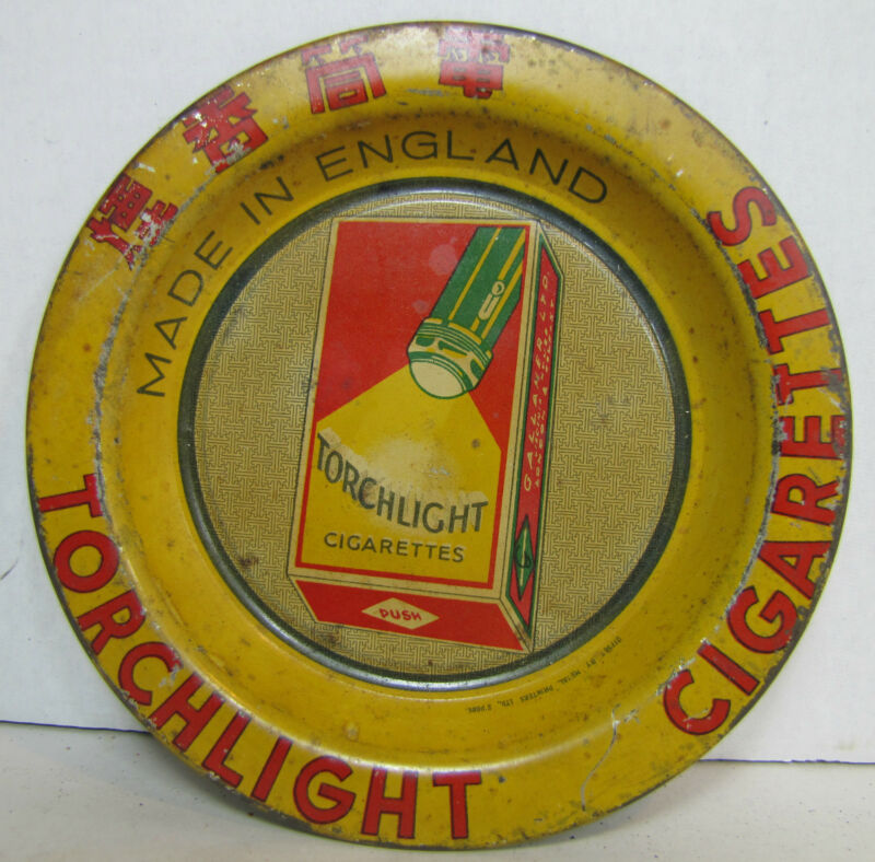 TORCHLIGHT CIGARETTES Antique Advertising Tip Tray Tin Litho Sign