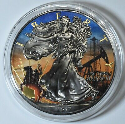 2017 1 Oz Silver American Eagle TEXAS Colored Ruthenium Coin BOX & COA