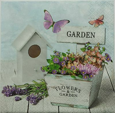 GARDEN & FLOWERS  2 individual LUNCH SIZE paper napkins for decoupage 3-ply