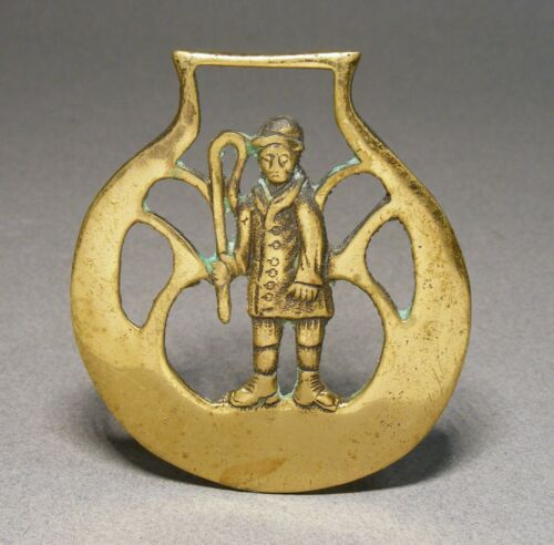 Vintage Horse Brass Medallion Equestrian Ornament - Rider Holding Crop