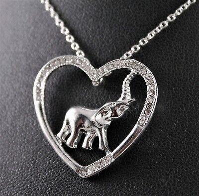 Silver Rhinestone Elephant Heart Pendant Necklace w/Free Jewelry Box and (Heart Pendant Silver Jewelry)