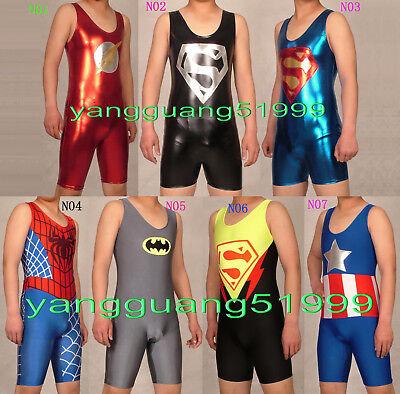 New 7 Style Short Superhero Suit Flash Superman Spiderman Captain Costumes F129