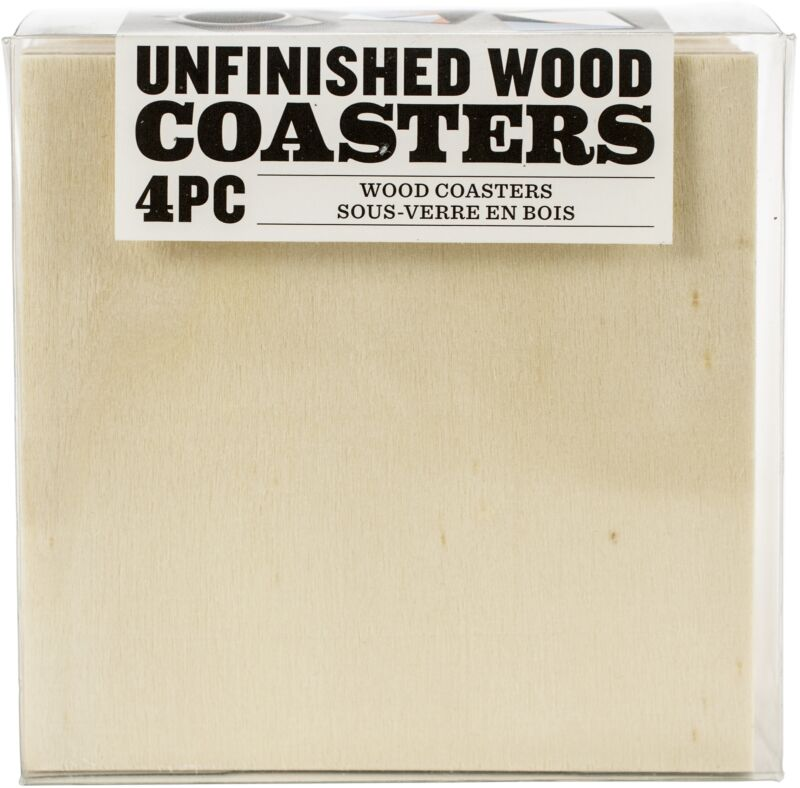"Unfinished Wood Coaster Set 4/Pkg-Square 4""X4"""