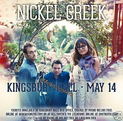 NICKEL CREEK 2014 SALT LAKE CITY CONCERT TOUR POSTER-Progressive Bluegrass (Progressive Bluegrass Music)