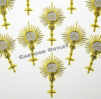 24 HOLY FIRST COMMUNION FAVORS GOLD CALIZ CUPCAKE DECORATION PRIMERA COMUNION  - First Communion Cupcakes