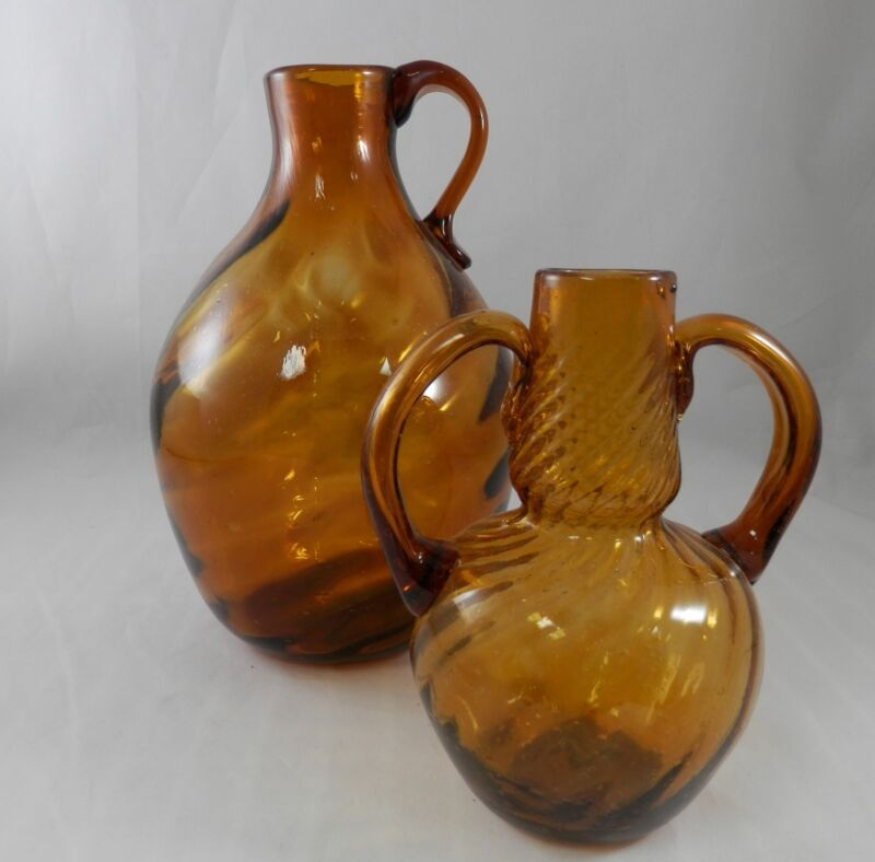 PV01035 Amber Swirled Blown Bottles with Applied Handles & Pontil Scars- PAIR