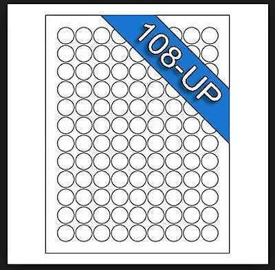 25 Sheets White Laser Inkjet .75 Round Circle Dots Inventory Labels 108-up