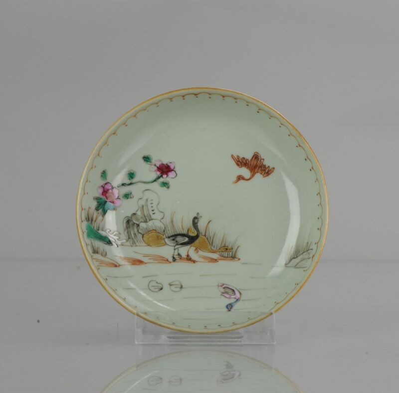 Antique 18th c Qianlong Celadon ground duck Qing Porcelain Tea Dish Chin...