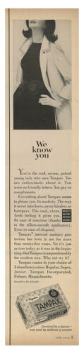 1965 TAMPAX Feminine Products - We Know You vintage print ad