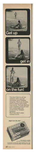 1971 TAMPAX Feminine Products - Get Up Get In On The Fun vintage print ad