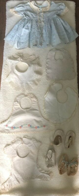 Antique Embroidered Cutwork Baby Bibs Lace Alfred Leon Original Dress,Booties