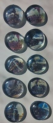 10 Steam train glass gem bubble magnets locomotives steamies trains choo choo
