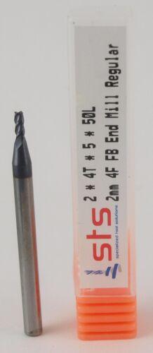 2mm Carbide Endmill 4 Flute Flat Bottom Regular TiAlN