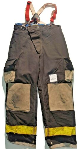 35x34 Cairns Black Firefighter Bunker Turnout Pants with Suspenders P1202